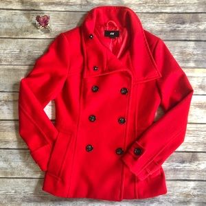 H&M   Double Breasted Red Peacoat Jacket